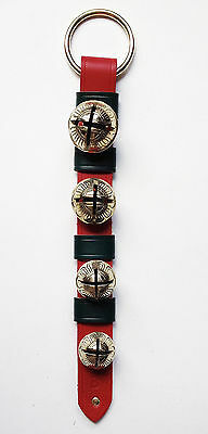 Jingle Bells - Sleigh Bells - Red/green Leather Bell Strap W/ Solid Brass Bells