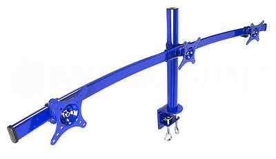 "Monmount Blue Curved Triple LCD Monitor Mount Up to Three (3) 27"" Screens"