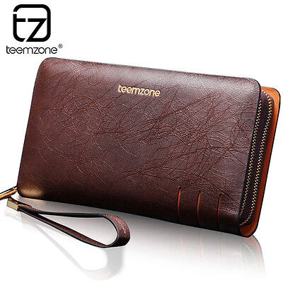 Genuine Leather Men Currency Notes Pattern Brand Wallet Notebook Phone Holder