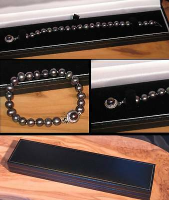 New ebony black real freshwater pearl bracelet with designer clasp in gift box