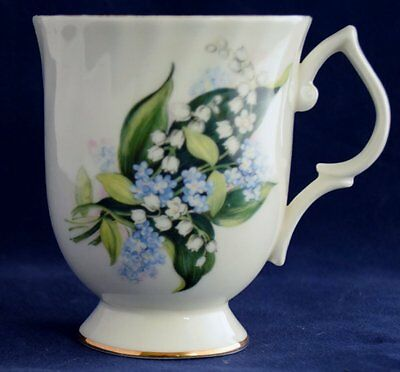 Pedestal coffee cup, fine bone china made by Canadian Classic, lillies