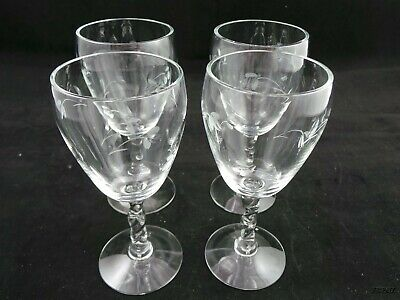 Set of 4 Small Etched Wine Glasses Twisted Stems