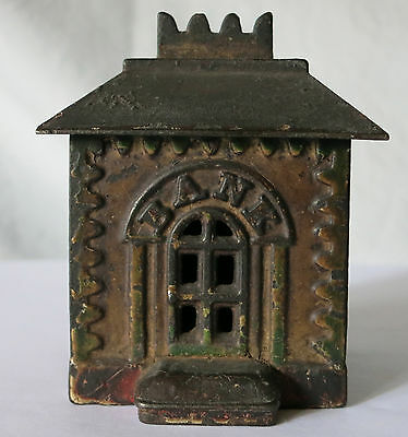 Small Crown Cast Iron Antique Bank