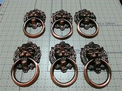 6 PCS Chinese Antique Old Style Lion Knobs Drawer Pull Handles Copper-Colored