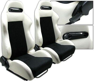 New 2 White & Black Racing Seats Reclinable W/ Sliders All Chevrolet **