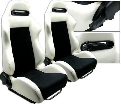 New 2 White & Black Racing Seats Reclinable W/ Slider All Acura