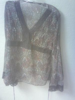 Mary-Kate and Ashley Junior Blouse - 11/13 - Sheer Paisley Print w/ Lace