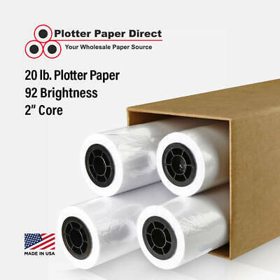 "4 rolls 36"" x 150' 20lb Bond Plotter Paper for Wide Format Inkjet Printers"