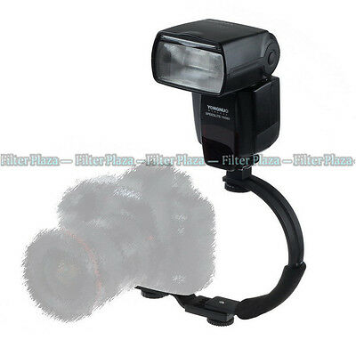C-shape Adjustable Hot Shoe Flash Bracket for Video Light DSLR Camera Camcorder