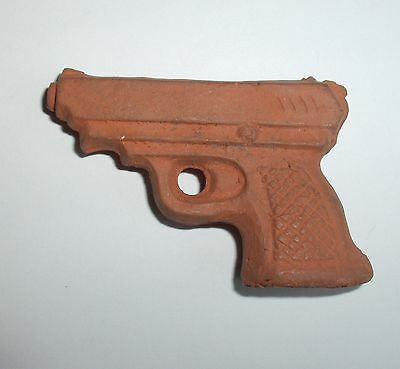 Vintage Primitive Hand Made Gun-Shaped Ceramic Pottery Clay Figural Whistle Toy