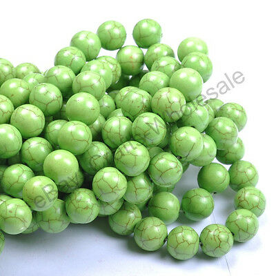 6MM 8MM 10MM 12MM 14MM Howlite Green Turquoise Gemstone Round Loose Beads