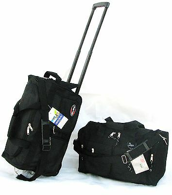 "2PC SET 40LB CAP EACH 20"" & 19"" ROLLING WHEELED DUFFLE BAG CARRYON LUGGAGE/ TOTE"