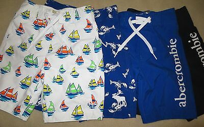 935f976bcd NWT Abercrombie & Fitch Boys Swim Trunks Board Shorts White,Navy, Blue S,