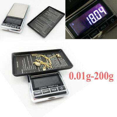 Mini 0.01g-200g Pocket Digital Electronic Scales Gold Jewellery Kitchen Weighing