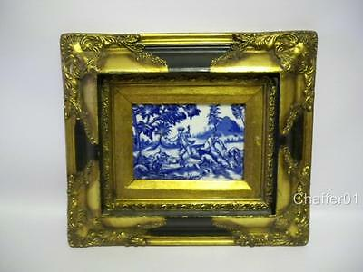 Antique Dog Hunting Tile in Blue & White Ironstone China in Stunning Frame