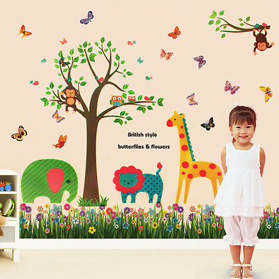 Colourful Butterfly Animal Grass Tree Nursery Kids Wall Sticker Mural Paper Art