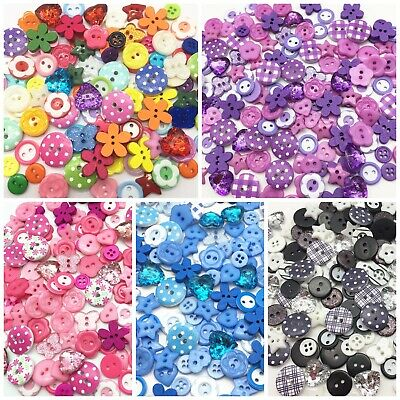 200 Variety Mix Wood Acrylic Resin Buttons For Cardmaking Embellishments Craft