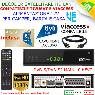 Ricevitore Digitale Satellitare Hdtv Hdmi Full Hd Wifi Con Tessera Tivu'sat Sky