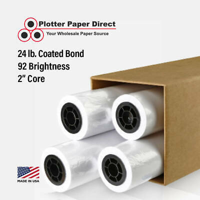 "4 rolls 24"" x 150' 24lb Coated Bond Paper for Wide Format Inkjet Printers"