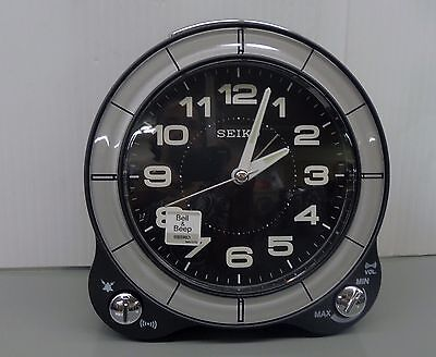 Seiko -Black Metallic Case With Quiet Sweep, Beep And Bell Alarm Qhk031Klh