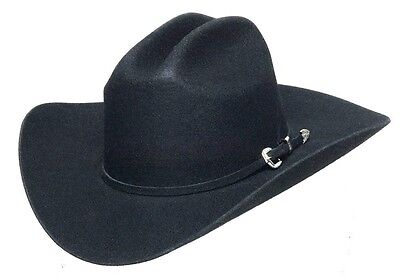 Western Cowboy Rustler Wool Felt Hat with Band Rodeo Cattleman BLACK - ALL SIZES