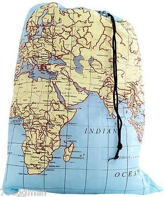 World Map Travel Dirty Laundry Bag Keeper - Keep Your Dirty Laundry Seperate