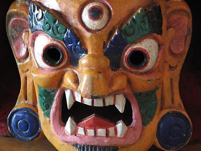 Old Tibetan Tribal Mask Wall Hanging…has wonderful rich colours...
