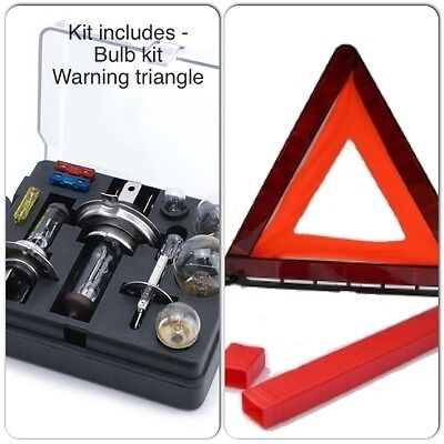 Travel Legal Essentials Kit - Car Spare Bulb / Fuse & Breakdown Warning Triangle