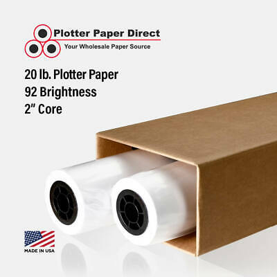 "2 rolls 24"" x 300' 20lb Bond Plotter Paper for Wide Format Inkjet Printers"