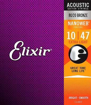 Elixir 11002 80/20 Bronze Nanoweb acoustic guitar strings, Extra Lt .010-.047