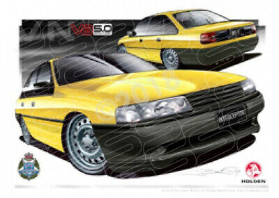 Commodore VN VN BT1 INTERCEPTOR COMMODORE YELLOW  STRETCHED CANVAS (HC207B)-New_