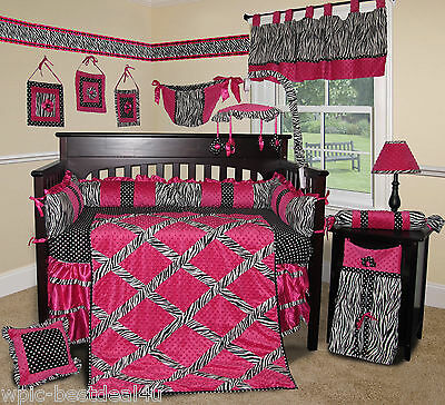 Baby Boutique - Hot Pink Zebra - 14 pcs Crib Bedding Set incl. Lamp Shade