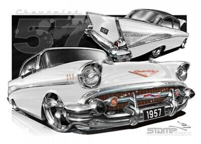 Classic 57 CHEVY IVORY/ONYX ROOF  STRETCHED CANVAS (C004Y)-New_Itemq