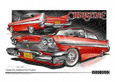 CHRISTINE 1958 PLYMOUTH  STRETCHED CANVAS (M022)-New_Itemq