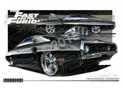 DODGE CHARGER R/T FAST AND FURIOUS  STRETCHED CANVAS (M006)-New_Itemq