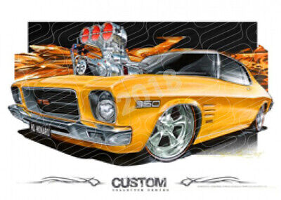 Holden 1972 Hq Monaro Coupe Yellow Blown  Stretched Canvas (D004)