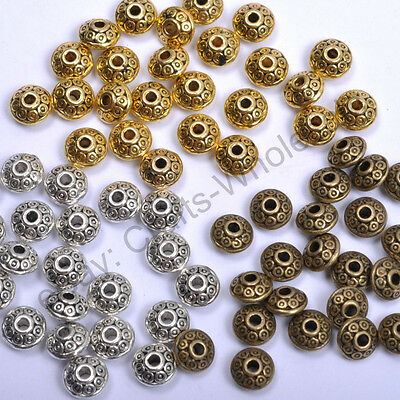 Tibetan Silver & Gold & Bronze Tone Tiny, Charms Spacer Beads 7MM CA784