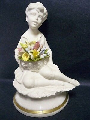 Capodimonte Marcolin signed Figurine of Boy with Flowers