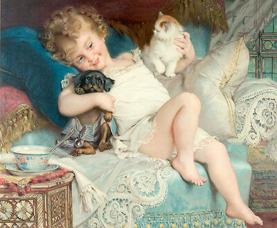Art huge Oil painting Emile Munier Trois Amis little girl with her pets dog cat