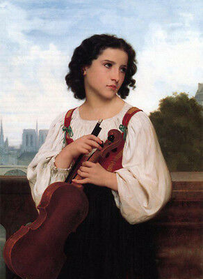 Stunning Oil painting Bouguereau - Only-the-world Young Violinist with violin