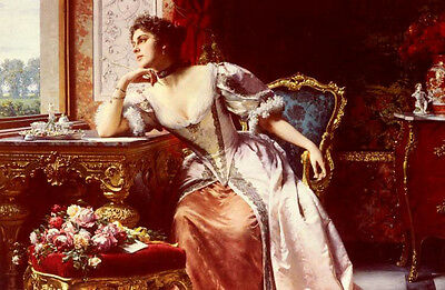 Art Oil painting Ladislas Wladislaw von Czachorski - Young lady with The Letter