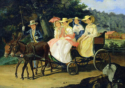 """Oil painting portraits nice young women on Donkey cart in summer landscape 36"""""""