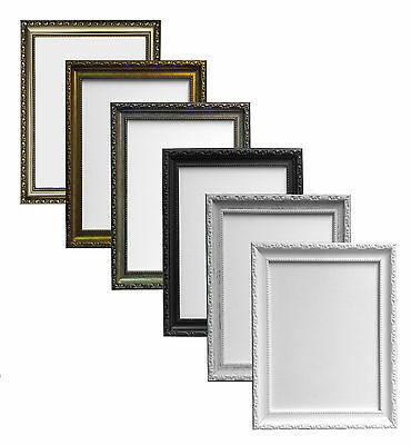 Shabby Chic Distressed White Black Gold Gunmetal & Silver Picture Photo Frames