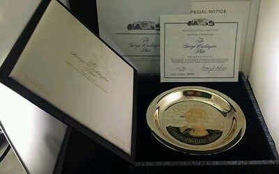 "The George Washington Plate ""Sterling Silver"" Inlaid with 24k Gold Franklin Mint"