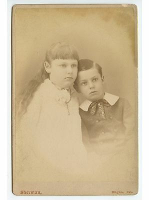 Antique Cab Photo Of 2 Young Well Dressed Siblings From Elgin, Illinois, Studio