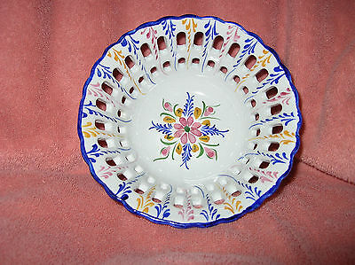 Reticulated Handpainted Portugal  Floral Bowl  SIGNED