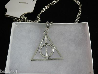 US Seller -  Harry Potter The Deathly Hallows Charm  Pendant Chain Necklace