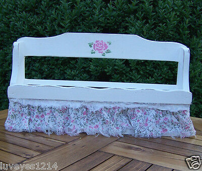 shabby painted white vintage/Antique wooden wood spice rack or bathroom shelf