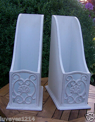 2 shabby painted white vintage/Antique wooden wood Magizine Holders