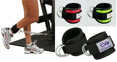 EVO Pulley Cable Attachment Neoprene Ankle Cuff Gym Strap weightlifting D Ring F